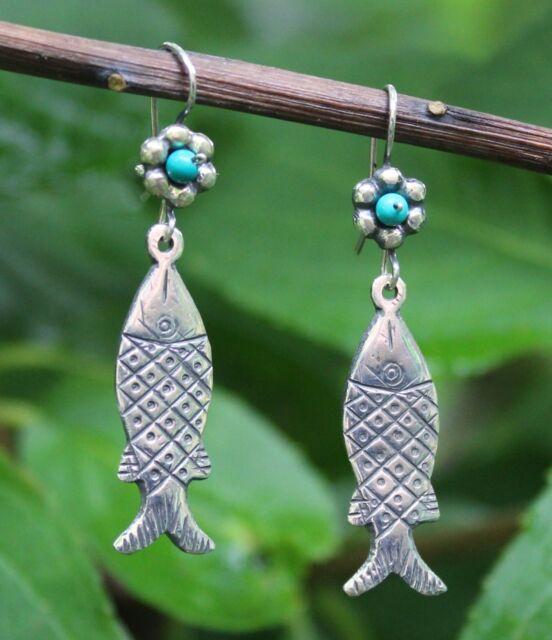 Pátzcuaro Style Sterling Silver Fish Earrings Hippie Bohemian Mexican Folk Art