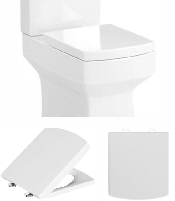 Heavy Duty Square Toilet Seat Soft Close Quick Release Top Fix Hinge Easy Clean