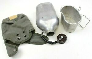 GENUINE-FRENCH-ARMY-WATER-BOTTLE-amp-COVER-ORIGINAL-USED-SURPLUS-AUC1