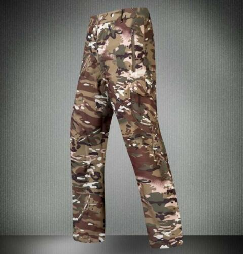 Mens Outdoor Pants Military Shark Skin Soft Shell Waterproof Fleece Trousers TAD