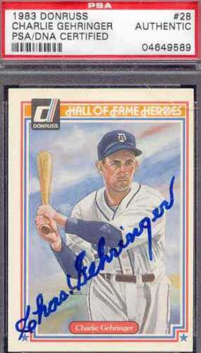 CHARLES GEHRINGER SIGNED 1983 PEREZ STEELE PSA//DNA AUTO