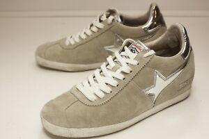 Ash-US-8-Tan-Silver-Lace-Up-Flat-Women-039-s-EUR-39