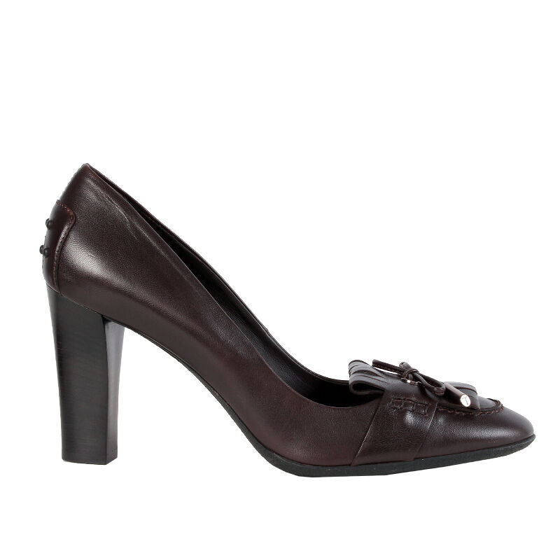 40056 auth TOD'S dark brown leather BOW Pumps shoes 41 NEW