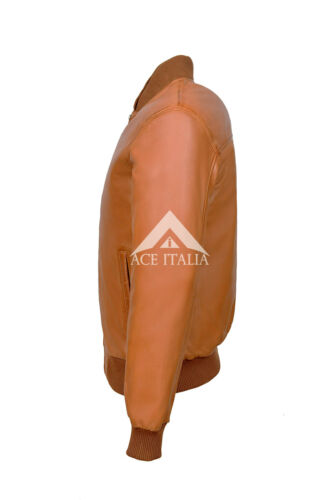 70/'S Street Inspired Men/'s Classic Retro real Tan Leather Cool Bomber Jacket