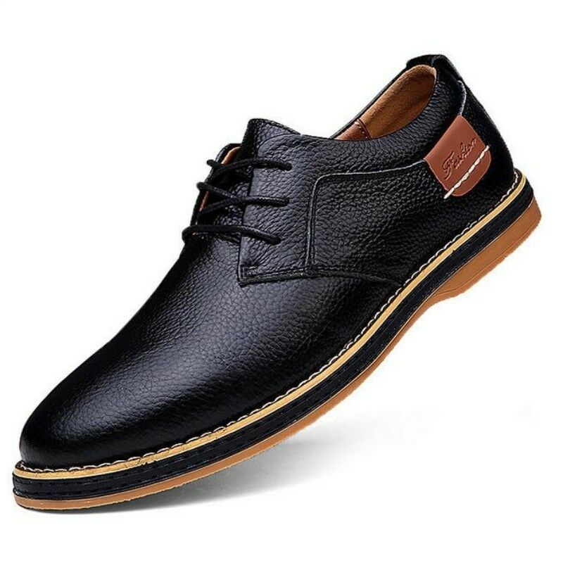 Men Leather Brogue Lace Up Spring Korean Solid Flats Breathable Low-top shoes Sz