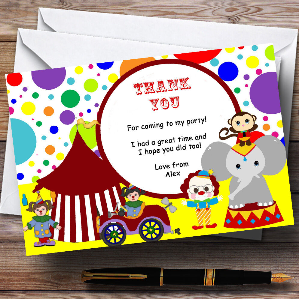 Colourful Circus Party Personalised Birthday Thank You Cards Ba9b65