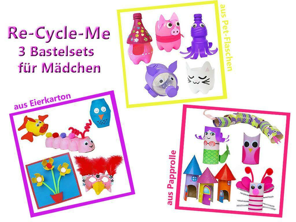 Re-Cycle-Me - 3er Craft Set for Girls Handicraft with Papprolle, Pet Bottle New