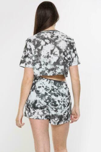 Ladies Short Sleeve Boxy Tie Dye Cycling Shorts Set Shirt 2PCS Co Ord Tracksuit
