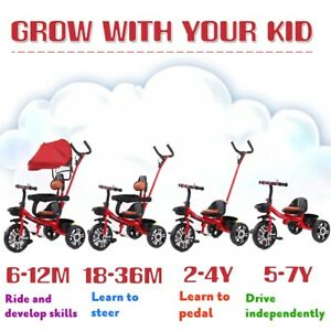 Baby Tricycle Children's 4 In 1 Trikes Kids Stroller W/ Canopy 3 Wheels