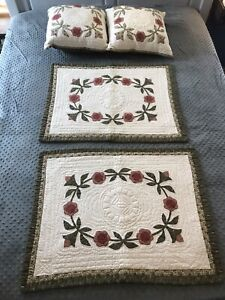 2 Quilted Standard Size Pillow Shams And 2 Matching Throw Pillows Farmhouse Chic