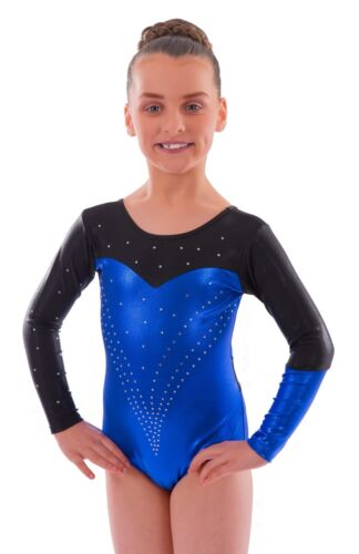 'Holly' Shiny Blue and Black with encrusted Diamante Gymnastic Gym Dance Leotard