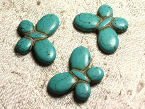 Perles de Pierre Turquoise Synthèse Papillons 35mm Bleu Turq Fil 39cm 21pc env