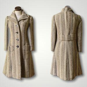JUNIOR SOPHISTICATES Vintage Couture 1960s Wool Coat Jacket HERRINGBONE Wool S/M