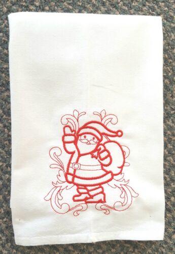 DOODLE SANTA CLAUS PATTERN MACHINE EMBROIDERED FLOUR SACK DISH TOWEL