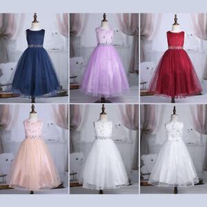 d269d55a1a04 Flower Girl Dress Sequin Lace Mesh Party Wedding Princess Tulle ...