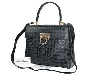 6e69600099 Auth SALVATORE FERRAGAMO Gancini Black Leather 2-Way Shoulder Hand ...