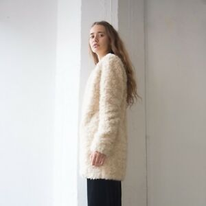 c3aada6be0 Details about BNWT ZARA SIZE LARGE 14-16 FAUX FUR CREAM OFF WHITE WOMENS  JACKET LADIES COAT