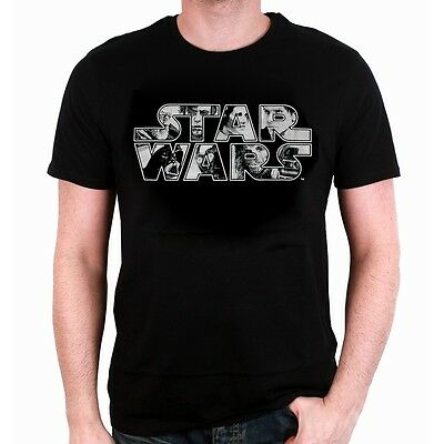 OFFICIAL STAR WARS - CHARACTERS SYMBOL BLACK T-SHIRT (BRAND NEW)