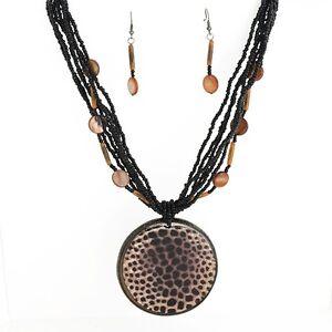 17-034-Multi-Strand-Black-Seed-Bead-Giraffe-Print-Medallion-Necklace-amp-Earrings-Set