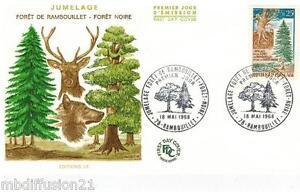 1968-FDC-1-JOUR-JUMELAGE-FORET-RAMBOUILLET-FORET-NOIRE-TIMBRE-Y-T-1561