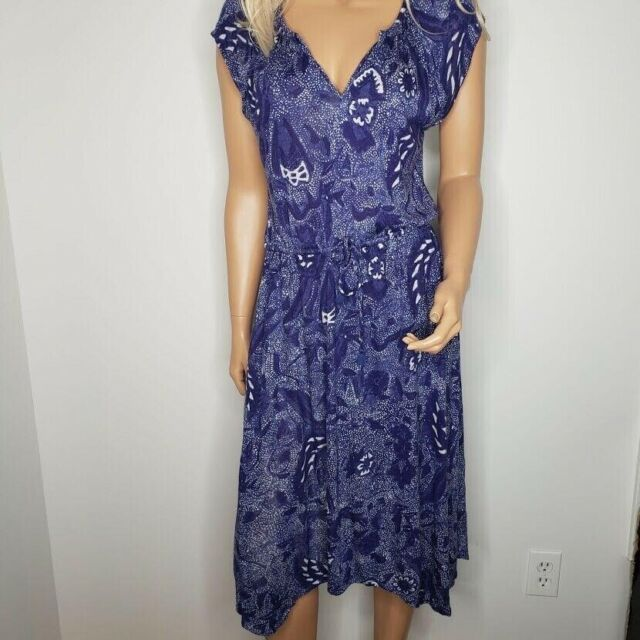 Lucky Brand Floral Print Tie Waist Sleeveless Blouson Dress Navy Womens Size M