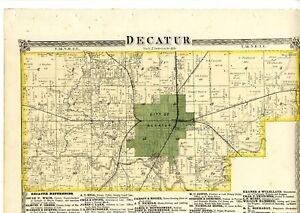 Decatur Illinois Map.1874 Map Of Decatur Illinois From Atlas Of Macon County W