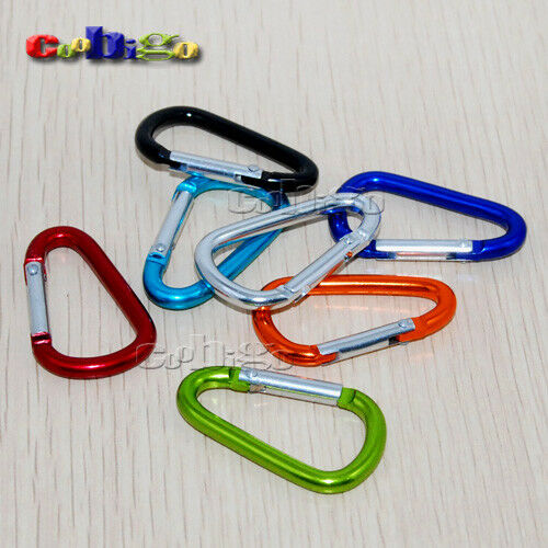 12X Aluminum Carabiner Spring Snap Hook Clip D-ring Keychain Camping Hiking