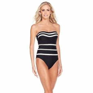 46f3bd08b29 NEW Jessica Simpson One Piece Swimsuit Black Bandeau Studded Bathing ...