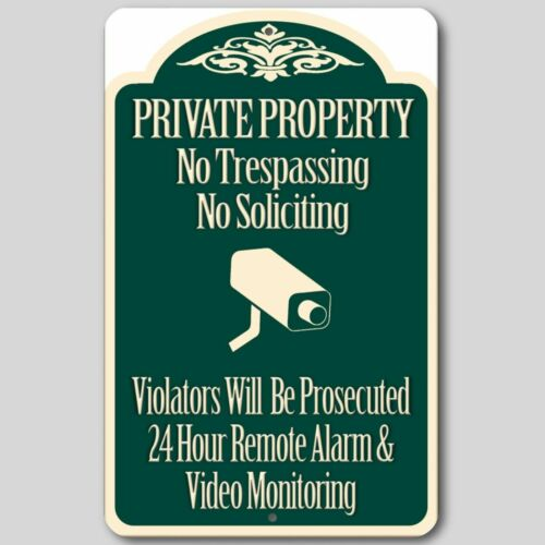 2 Lot Private Property No Trespassing No Soliciting Video Surveillance Signs