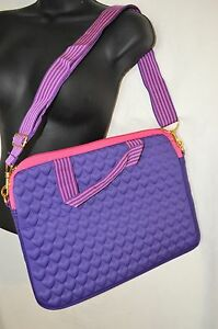 Justin Bieber Laptop Bag Case Quilted Purple Pink NIP NWT Damaged Package