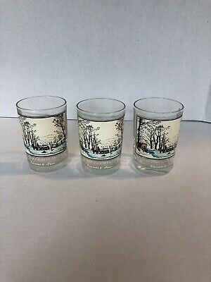 Set of 4 Currier /& Ives Highball Glasses from the 1978 Arby Collection Courtesy of the Museum of the City of New York Earthtones on Beige.
