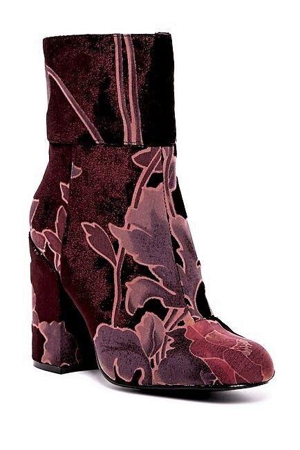 NIB Steve Madden Goldie Block Heel Floral Velvet Mid Boot Burgundy Multi Sz 6.5
