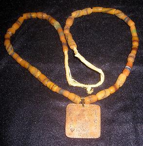 1784 Hudson Bay Fur Trade Trinket Medal 10 MB on Glass Trade Bead Necklace