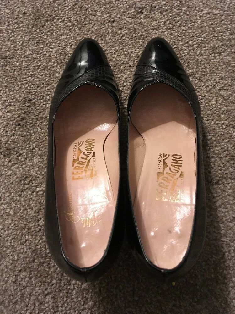 "Womens Black Ferragamo 3"" High Heel shoes, Size 7.5B, Made Made Made In  fdf21b"