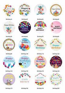 80 happy birthday craft 30 mm sticker round gift present label