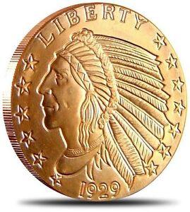 USA-2009-Indian-Chief-Head-999-Fine-Incuse-Copper-Bar-1-2-Std-Oz-UNC