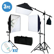 Photo Studio Photography 3 Softbox Light Stand Continuous Lighting Kit 2400