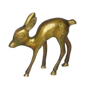 Deer-Figurine-Old-Brass-Handmade-Animal-Figure-Sculpture-Statue-Rich-Patina-B1