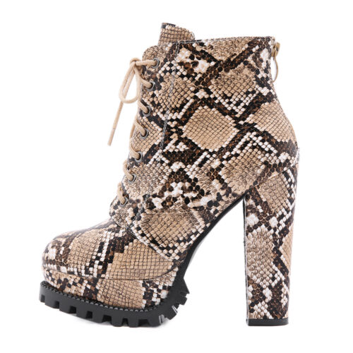 Women/'s Ankle Boots Snakeskin Block High Heels Platform Lace Up Round Toe Shoes