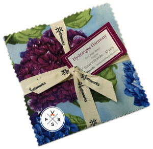 Clothworks-Hydrangea-Harmony-5-034-Charm-Pack-Fabric-Quilting-Squares-SQ40