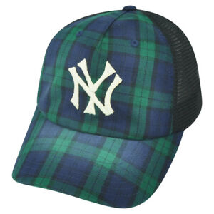 57305299fe MLB American Needle NY New York Yankees Faded Plaid Mesh Snapback ...
