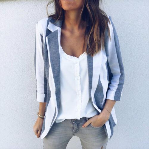 Women Office Work Long Sleeve Striped Open Cardigan Slim Suit Blazer Coat Jacket