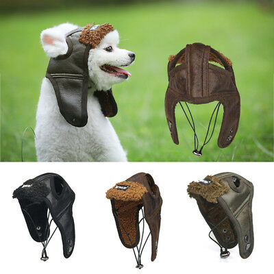 Pet Dog Winter Warm Cute Aviator Cap Pet Costume Outdoors Windproof Leather Pilot Motorcycles Protect Hat