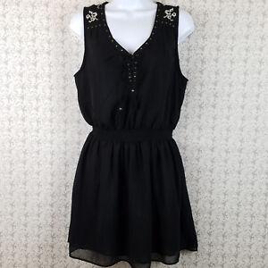 Womens-Juniors-Forever-21-Sleeveless-Semi-Sheer-Mini-Dress-Black-Size-Large