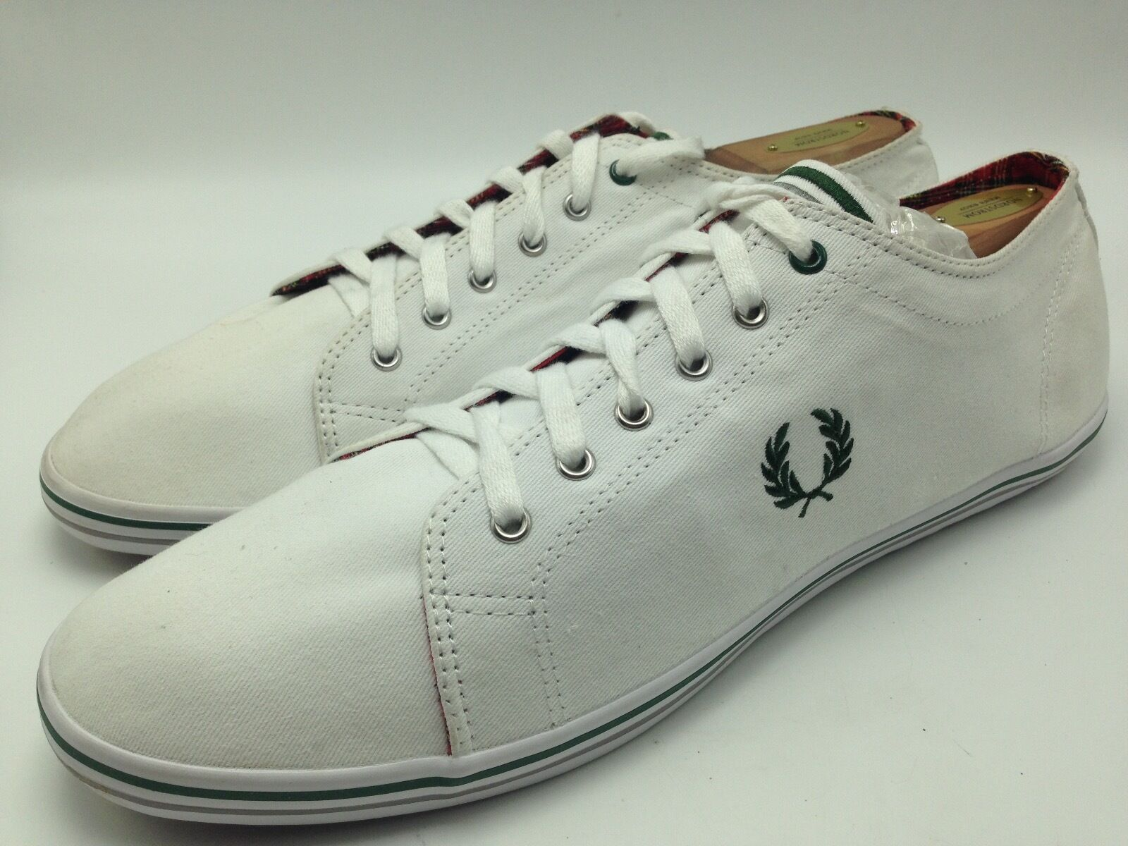 7A3 Fred Perry Twill Canvas Sneakers Casual Flat laced White Men shoes Size 13