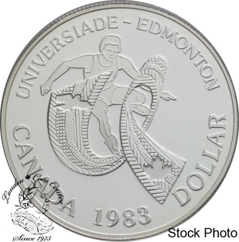 Canada 1983 $1 World University Games Proof Silver Dollar Coin in Capsule Only