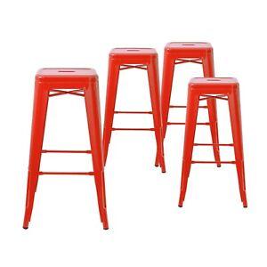 Fabulous Details About Set Of 4 Red 30 Inches Bar Height Metal Bar Stools Indoor Outdoor Inzonedesignstudio Interior Chair Design Inzonedesignstudiocom