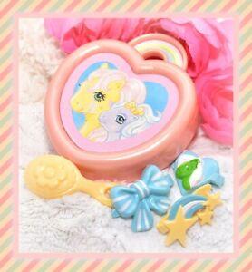 My-Little-Pony-G1-VTG-Trinket-Box-Hair-Barrette-Case-3-Clips-Jewellery-Set