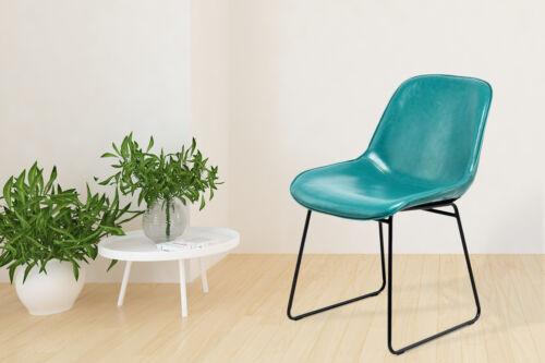 Stuhl Industrial Leder Look Retro Esszimmerstuhl 2er Set Türkis Blau