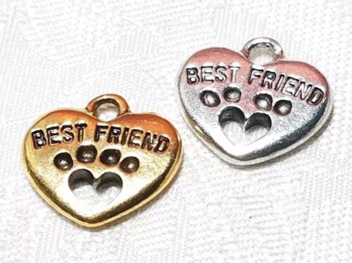 15mm L x 15mm W x 3mm D BEST FRIEND HEART PAW PRINT FINE PEWTER PENDANT CHARM